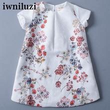 Fille robe de mode nouveaux enfants robe enfants bébé d'été plein aumunt robe coton genou-longueur avec beautifur fleur