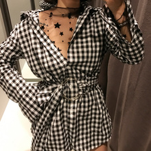 New Spring Women Shirts Plaid 001 Match Chatelaine Matchs A Hoop Clasp Blouse Shirt Red Black 2068