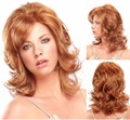 Synthetic women wigs golden wigs long wavy hair wigs side bangs natural female Heat Resistant cheap full wig costume parrucca