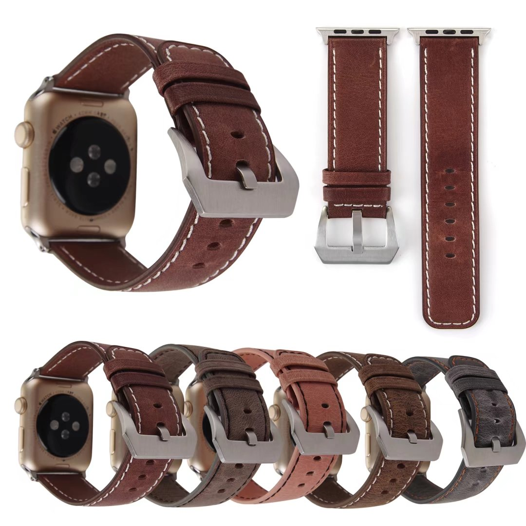 Vintage Genuine Leather Watchband for Apple Watch Series 1 2 3 Strap 42mm 38mm Retro Replacement Belt Bracelet for iWatch Band top layer cowhide genuine leather watchband for swatch men women watch band wrist strap replacement belt bracelet 17mm 19mm 20mm
