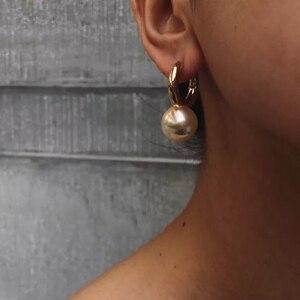 Image 1 - Pendientes colgantes de perlas grandes y redondos para mujer, joyería de diseño, aretes colgantes de oro de alta calidad para mujer, bisutería de marca elegante de lujo