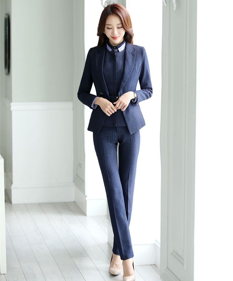 Pant Suits New 2019 Formal Navy Blue Blazer Women Pant Suits Work Wear Ladies Business Jacket Sets Office Uniform Styles Ol 100% Guarantee