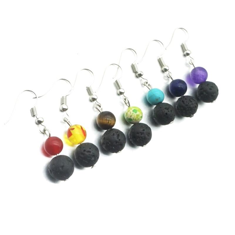 Essential Oil Diffuser Black Lava Bead Dangle Clip On Earrings Non-Pierced Ears