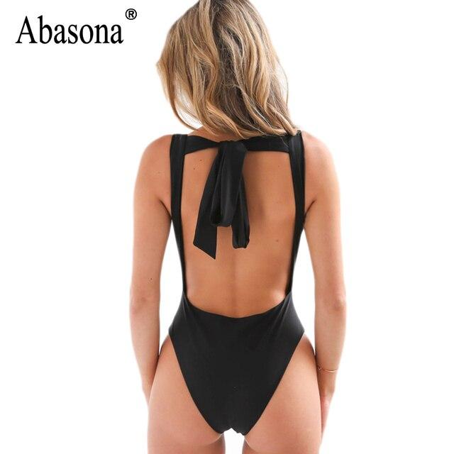 Abasona 2017 Nueva Primavera de la correa sin respaldo tops Sexy profundo escote en V bodycon body Estilo Chic estiramiento de seda trajes de baño mujeres trajes