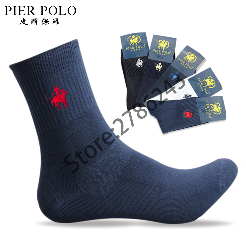 5 pairs/lot PIERPOLO Brand Men Socks Embroidery Winter Man Socks Cotton High Quality Sheer Mens Dress Socks Calcetines Hombre