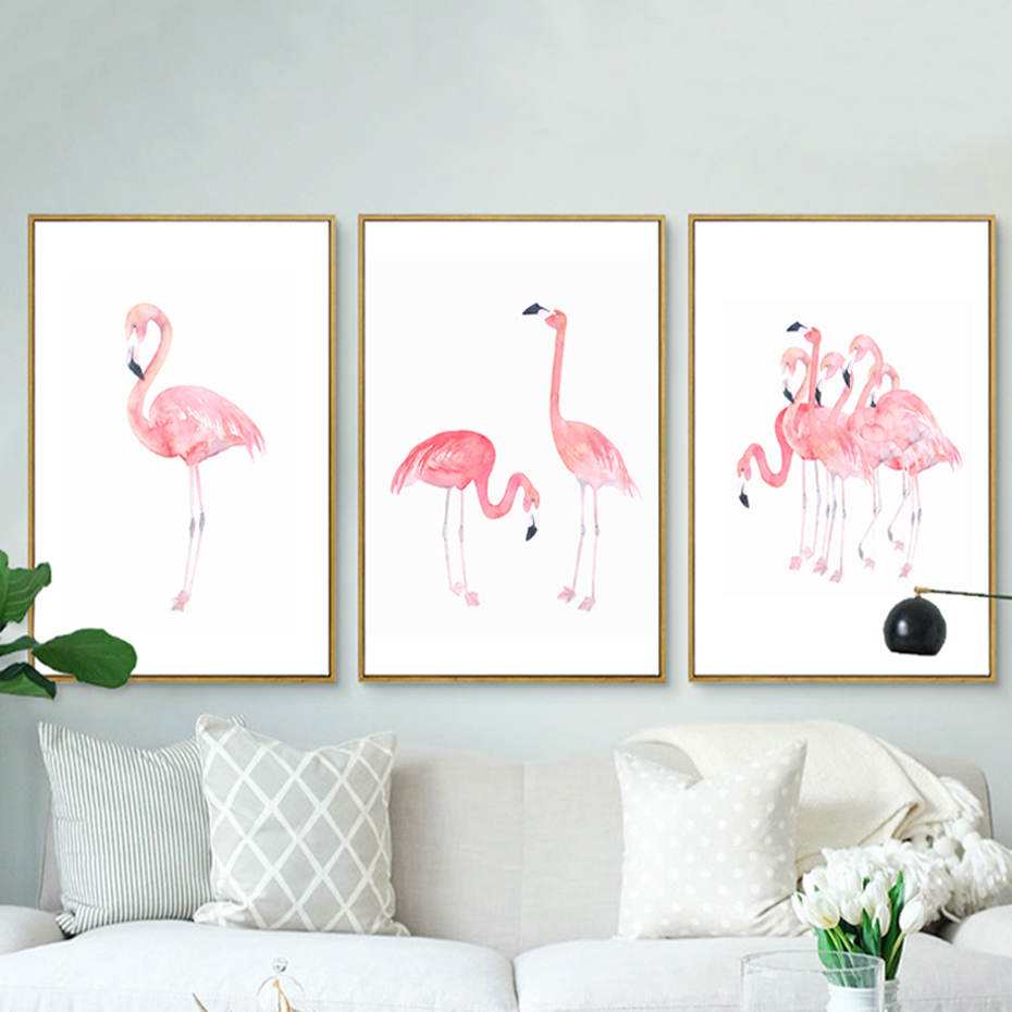 Modern pink flamingos canvas paintings princess wall art animals nordic poster prints pictures for Canvas prints childrens bedrooms