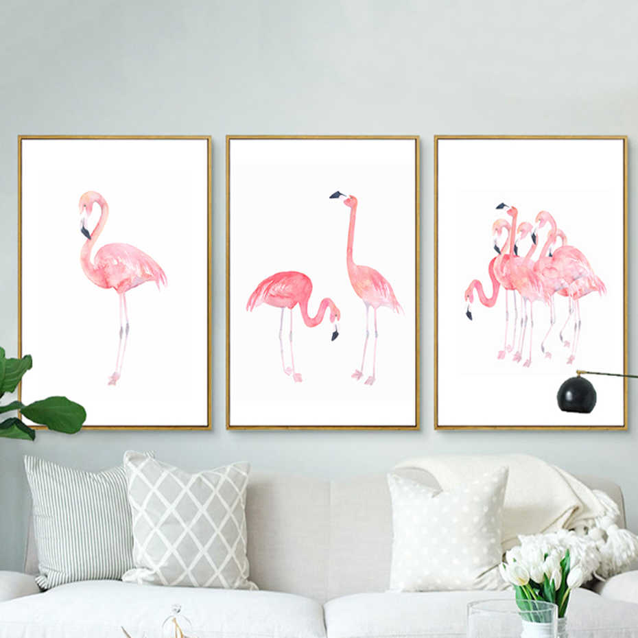 Pink Flamingos Canvas Paintings Princess Wall Art Animals Nordic Poster Prints Pictures For Kids Room Home Decor