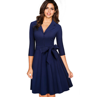 Women Elegant Belted Bow Vintage Retro 3 4 Sleeve Autumn Winter Tunic Slim Casual Work Party