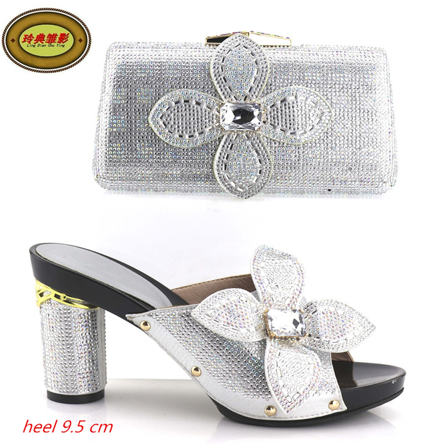 Yh06 Silver Latest Design European Lady Shoes And Bags Sets For Party Green Hot Ing African