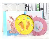 2019 Blue And Pink Box Baby Souvenirs Hand & Footprint Makers Newborn Soft Modeling Clay Inkless Printing Sets For Infants