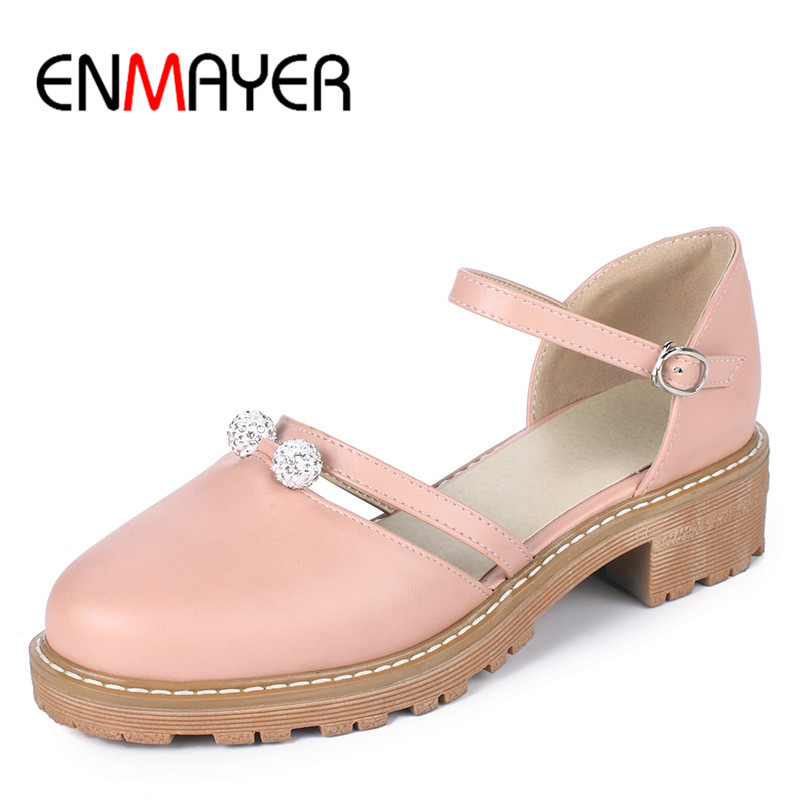 цены  ENMAYER Summer Women Casual Pumps Shoes Round Toe Square Heel Buckle Strap Platform Rhinestone Large Size 34-43 Blue Pink Beige