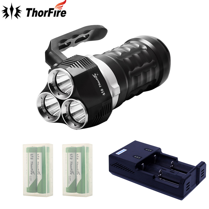 ThorFireTD34 2000umens 3 modes 3x XPL LED Diving Flashlight Waterproof Searchlight Underwater 70m Torch+18650 battery+Charger supfire d8 160m professional portable explosion proof strong diving led flashlight searchlight 30 watts by 18650 battery