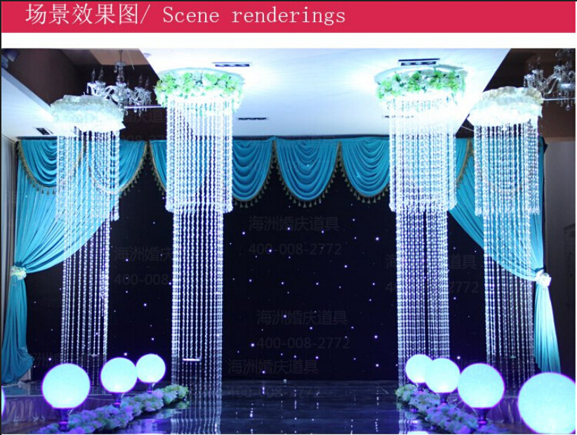 New Arrival Wedding Crystal Droplight The Stage Background Decoration Ceiling With Light Flowers In Artificial Dried From Home