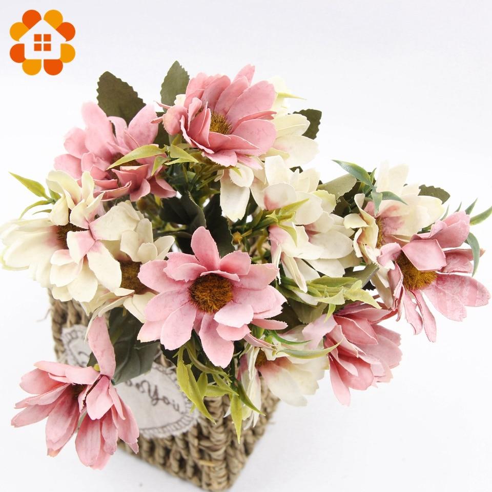 1bouquet 5 Colors Artificial Flowers European Silk Daisy Flower