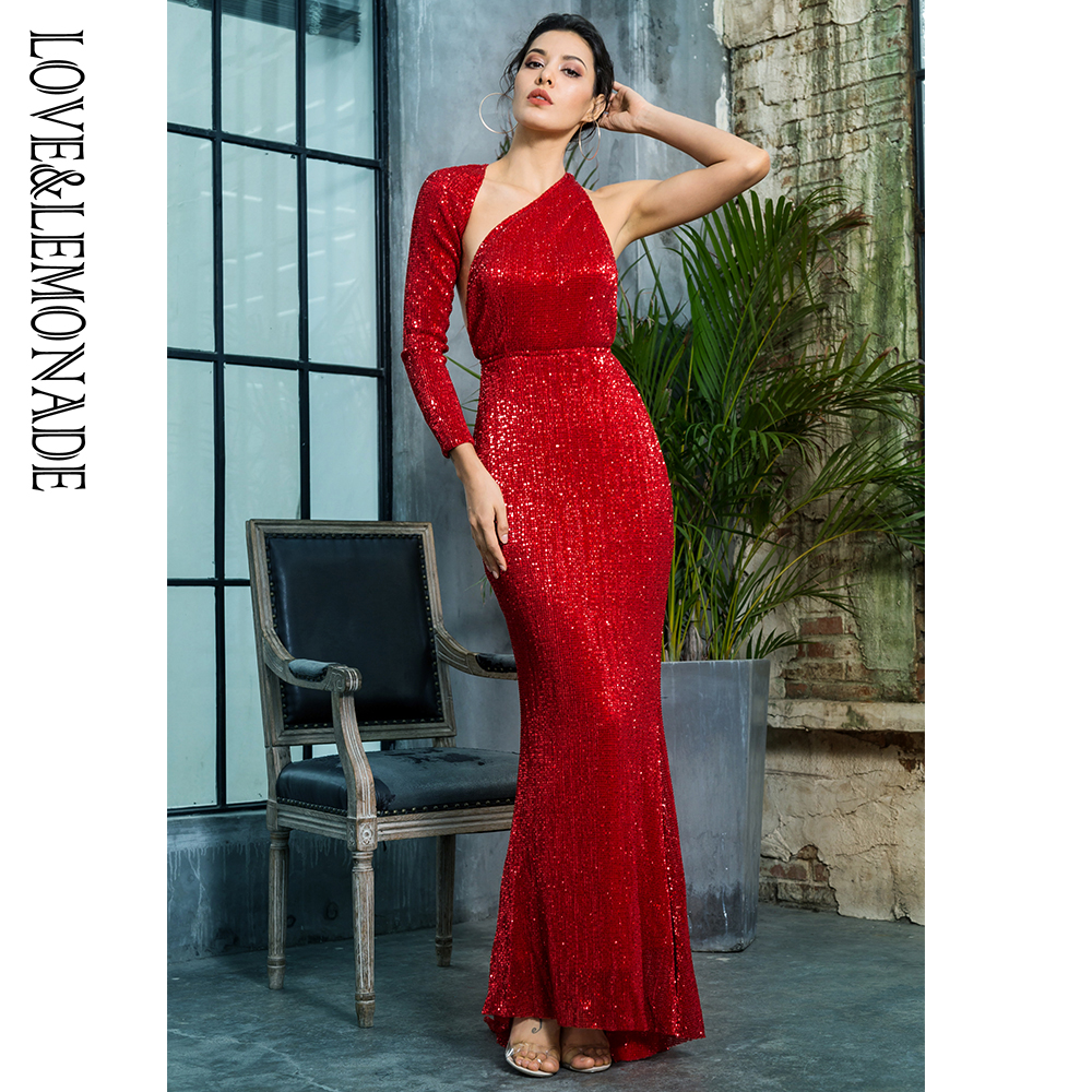 Love Lemonade Sexy Open Back Separate Sleeve Elastic Sequins Long Dress LM81333 1RED