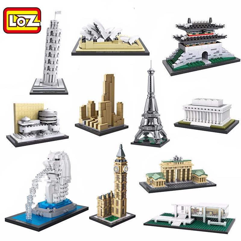 LOZ Mini Blocks World Famous Architecture Building Blocks White House Leaning Tower Of Pisa Bricks Figure Model Toys
