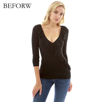 BEFORW Sexy Speical Design 2018 V Neck T Shirt Women Long Sleeve Slim Womens Girls Spring