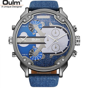 Image 5 - OULM relojes de cuarzo con pantalla dos zonas horarias para hombre, reloj de pulsera militar de cuero PU