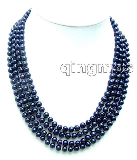 """Супер длинная 80 """" круг глянцевый черный 7月8日 мм пресной воды естественная жемчуг ожерелье - nec7761"""
