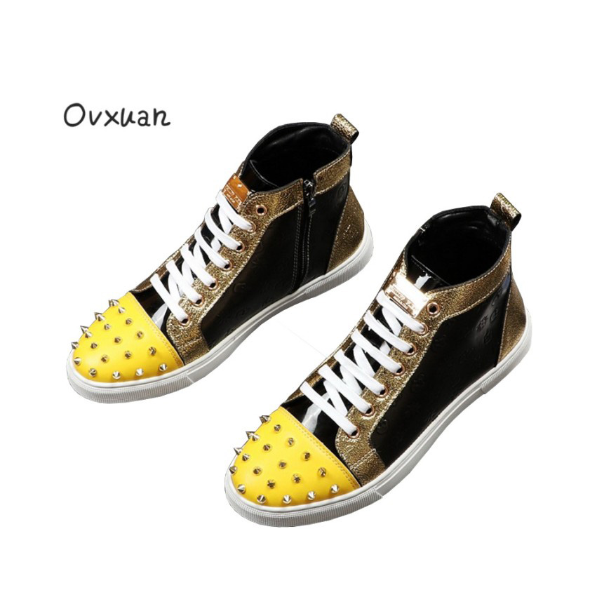 Ovxuan High Top Metal Slice Rivets Italian Design Fashion Party Men Dress  Shoes Leather Male Casual Sneakers Flats Loafers Shoes-in Men s Casual Shoes  from ... 207335abc3d3