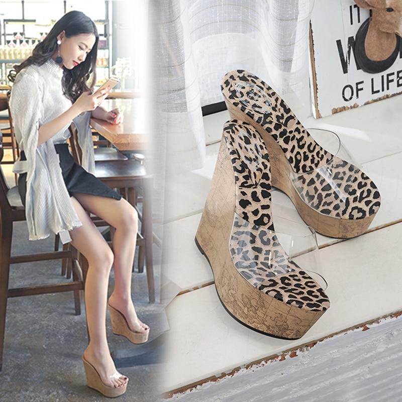 Transparent Wedge Sandals Slippers Anti-Slip High-Heel Sexy Summer European Super American