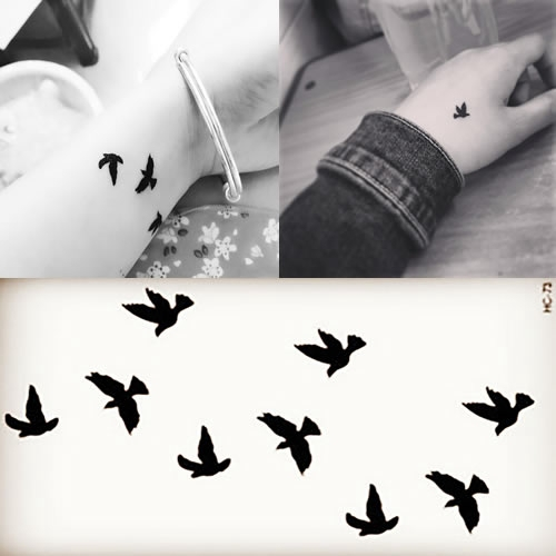 New 2015 Fashion Tattoo Stickers Cartoon Flying Bird For