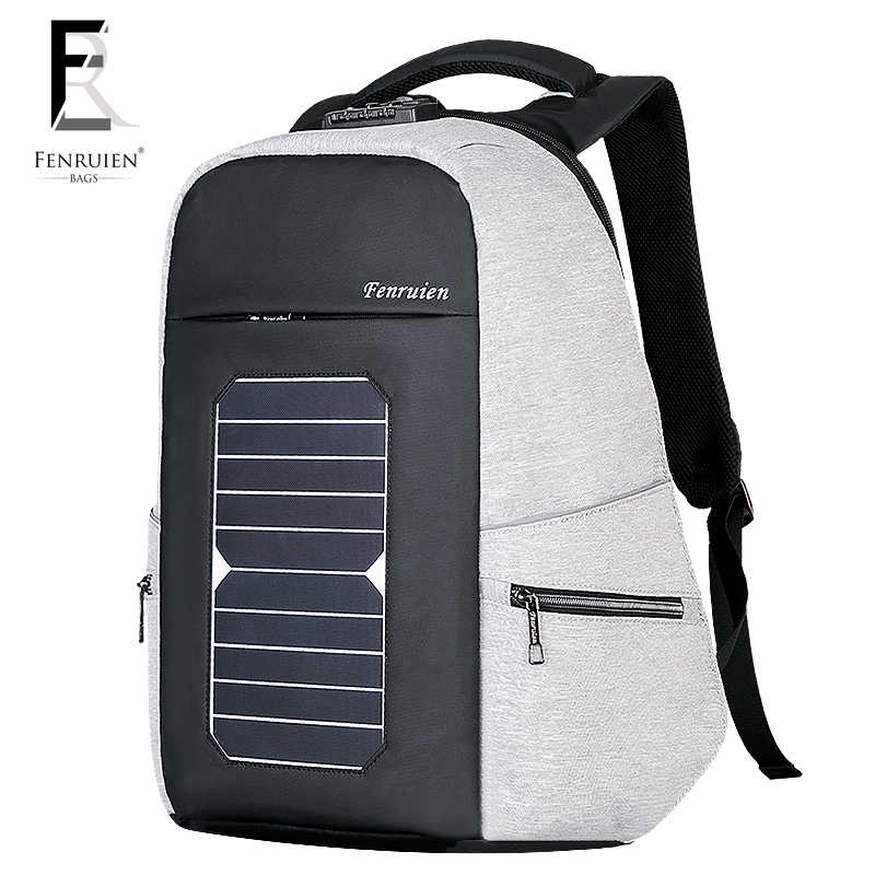08942dadfff4 FENRUIEN 5.3V Solar Powered Backpack Anti theft Men Women Waterproof Travel  Backpack Laptop Business Usb Charging Daypack w/Lock