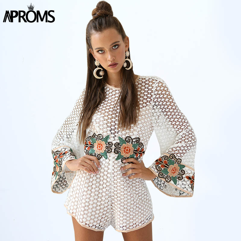 Aproms White Crochet Lace Embroidery Rompers Womens Jumpsuit Summer Flare Sleeve Loose Playsuit Cute Overalls for