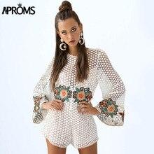 Aproms белый вязание крючком кружева вышивки комбинезон женские комбинезон лето flare рукавом свободные комбинезон милые комбинезоны для женщин одежда