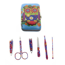 6Pcs/Set Flower Printed 2 Kinds Professional Owl Manicure Set Nail Care Set Kit Tool For Women Girl Child Kid Gift