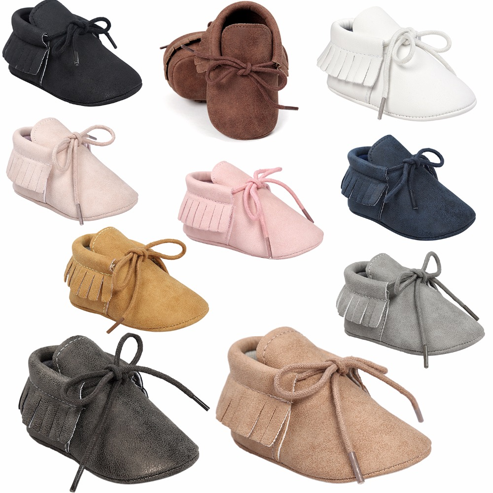 ROMIRUS Hot sale PU Suede Leather Baby Moccasins girl boy Bebe Fringe Soft Soled Non-slip Footwear Crib baby Shoes Lace-up