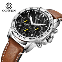 5b4a009e6 الفاخرة أعلى العلامة التجارية OCHSTIN جديد الرجال كرونوغراف للماء تاريخ الرياضة  الرجال جلد ساعة كوارتز الذكور