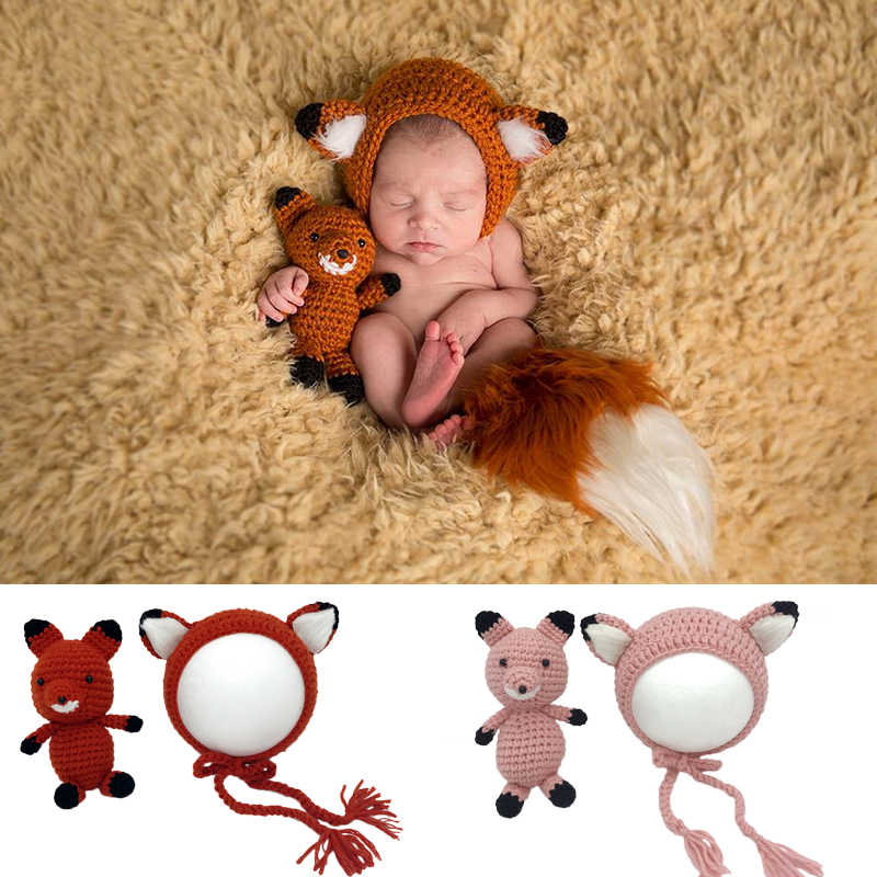 Fox Doll+Hat 2pcs Sets Baby Infant Photography Clothing Props Handmade Knitted Fox Cap Toy Newborn Pictures Accessories Bonnet