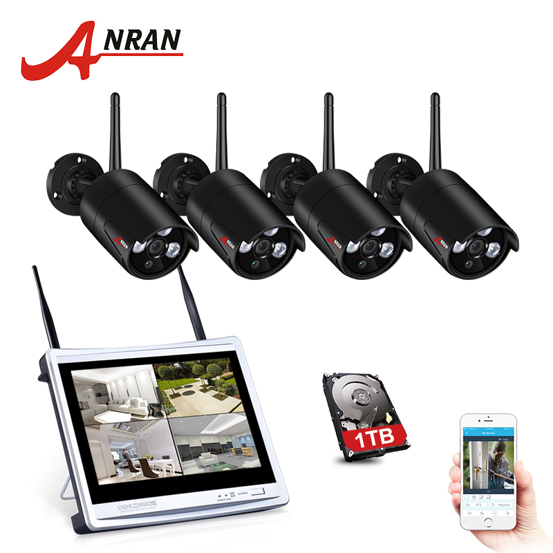 ANRAN 4CH CCTV System Wireless 1080P 12 Inch NVR Security Camera System With 2MP Outdoor Wifi
