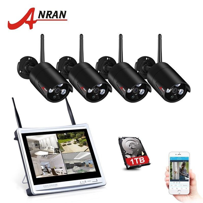 ANRAN 4CH Sistema de CCTV NVR Sistema de Câmera de Segurança Sem Fio 1080P 12 Polegada Com 2MP Wi-fi Ao Ar Livre Câmera de Vigilância IP kit