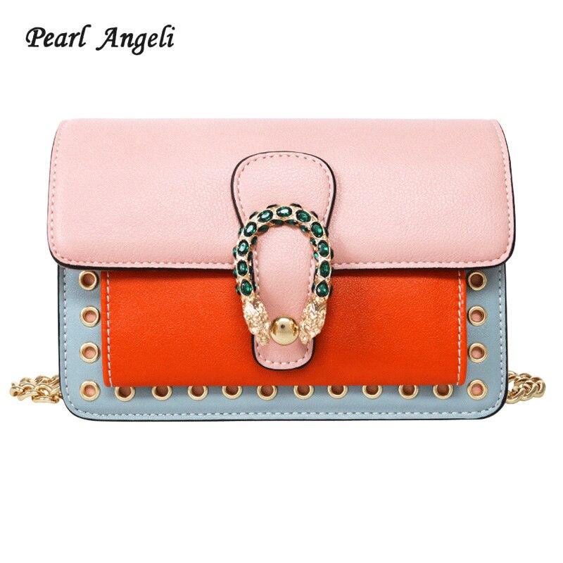 Pearl Angeli 2018 Crossbody Bags for Women Crystal Decoration Metal Hasp Adjustable Strap Ladies Shoulder Handbag Bolsa Feminina