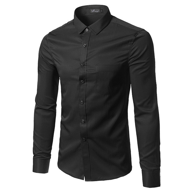 Business Office Work Classical Black Shirts Men Turn Down Collar ...