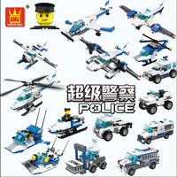 Fun Children Building Blocks Toy Police Helicopter Aircraft Patrol Car Children Intelligence Education Building Blocks