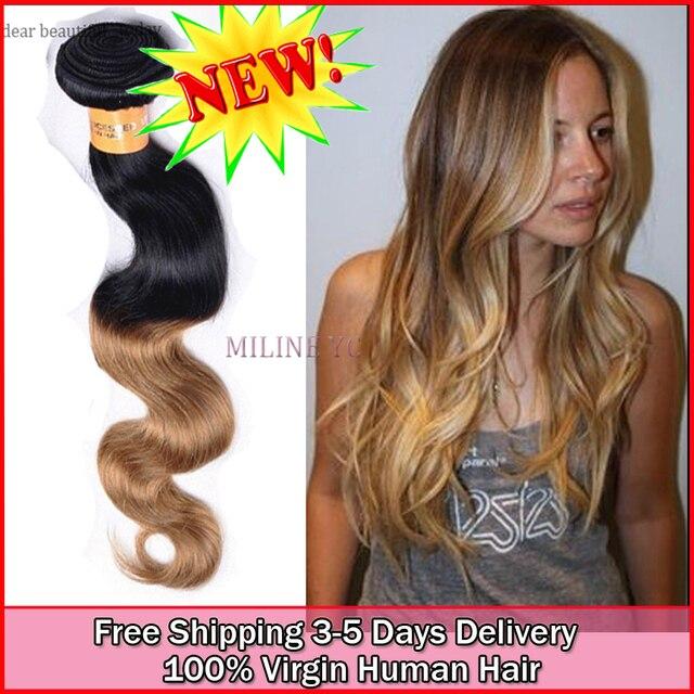 Cheap Brazilian Virgin Human Deep Body Wave Ombre Hair 6a Grade 4pcs