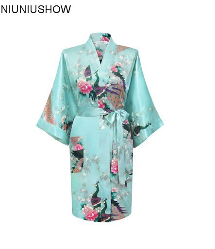 Hot Sale Light Blue Chinese Female Satin Robe Printed Floral &Peacock Bath Gown Classic Yukata Nightgown Size S To XXXL