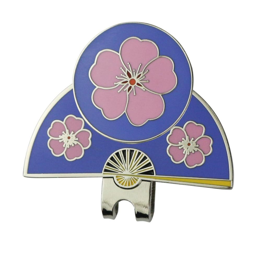 PINMEI Golf Hat Clips With Sakura Magnetic Golf Markers Set Embossied Japan Style Emitation Hard Enamal Ball Mark Cap Clips Sets