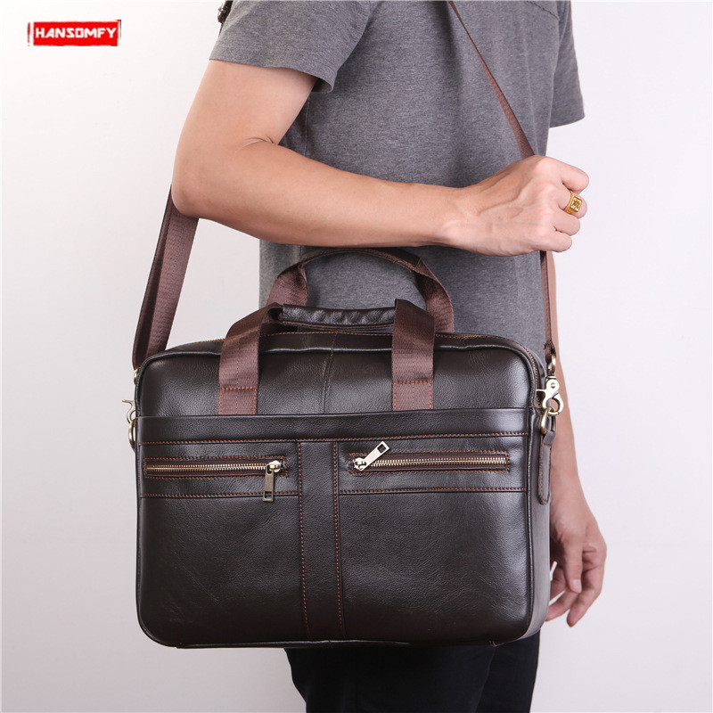 Men's First Layer Cowhide Briefcase Handbag Brown Genuine Leather Men Shoulder Diagonal Bag Business Travel Crossbody Briefcases