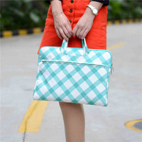 Square Picture Green Canvas Laptop Handbag Case For Macbook Air 13 Pro Retina 13 Laptop Bag