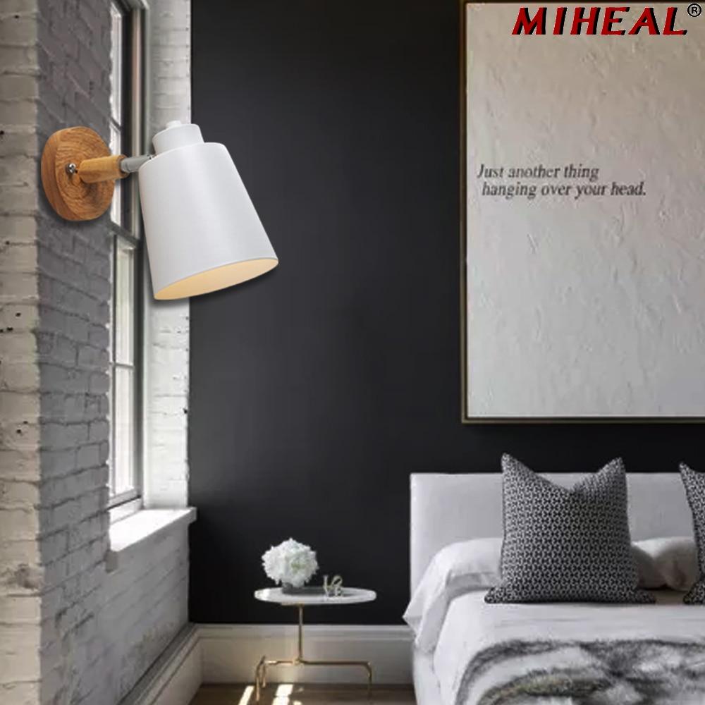 Modern Wood Wall Lamp Nordic style Indoor Lighting Bedside LED Wall Light for Children Reading Bedside Fixture Bedroom 5