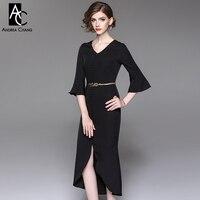 Wiosna jesień kobiety sukienka czarny pomarańczowy trąbka suknia złoty pas przedni przyciski dno podziel długość łydki elegancki biuro sukienka