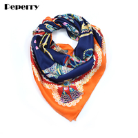 Silk Scarf Women Horse Carriage Bandana Spring Summer NecK Headscarf Scarves Shawls Wraps Handmade Hemming 110