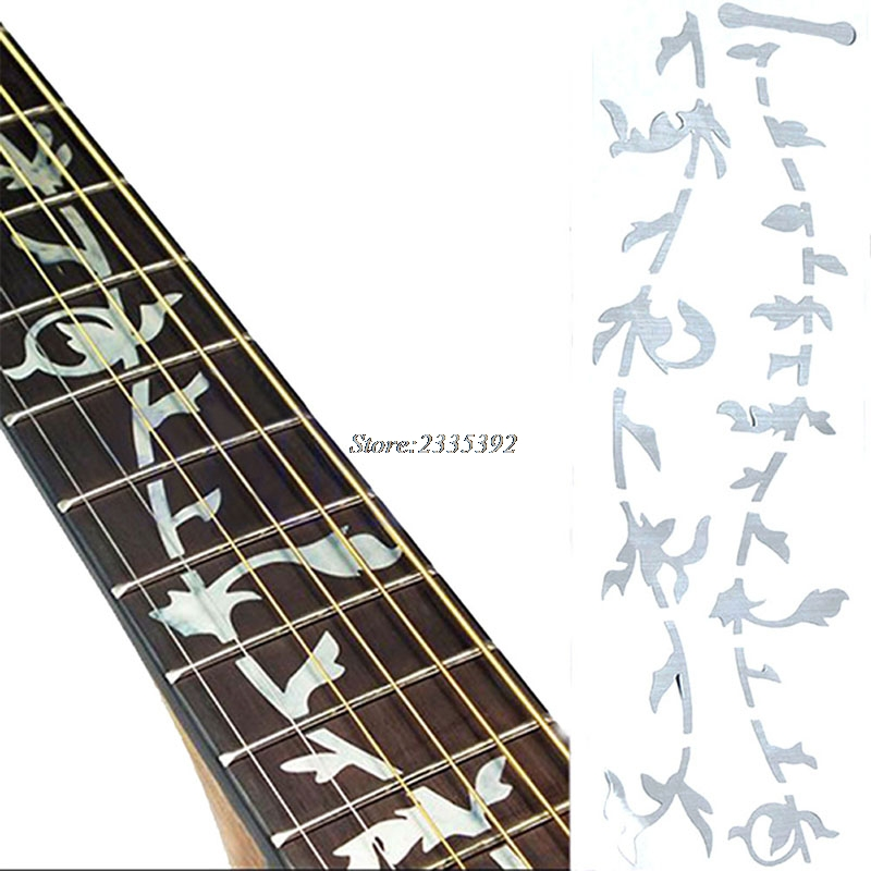 Guitar Or Bass Tree Of Life Fretboard Silver Color Inlay Ultra Thin Sticker jockomo p50 gb16 inlay sticker decal for guitar bass body twisted snake made in japan