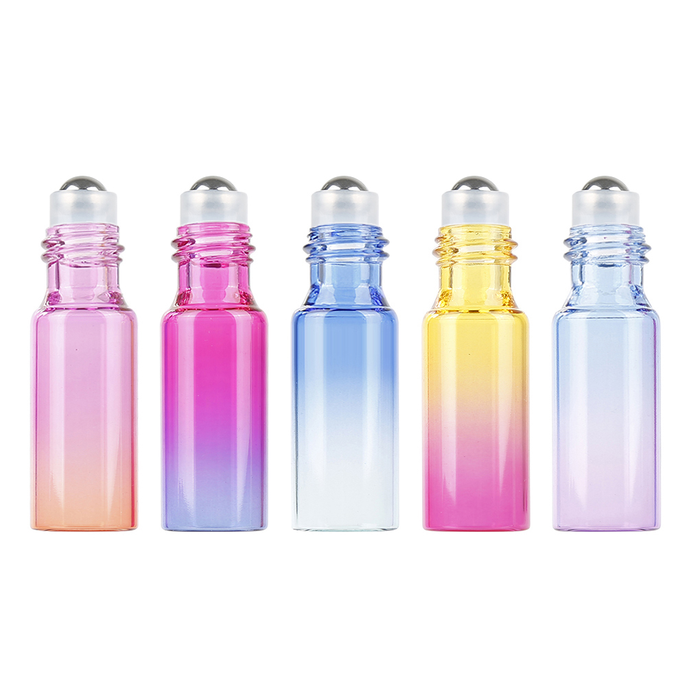 Empty Perfume Bottle Roller Ball Bottle Durable For Travel Gradient Color Thick Glass Roll Small Size