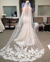 Wedding Veil 3 Meters Long Soft Bridal Head Veils With Comb One Layer Lace Veil Ivory