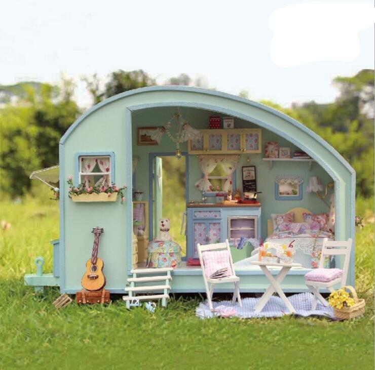 Fait à la main RV maison de poupée meubles Miniatura bricolage maisons de poupée maison de poupée en bois jouets enfants cadeau de noël